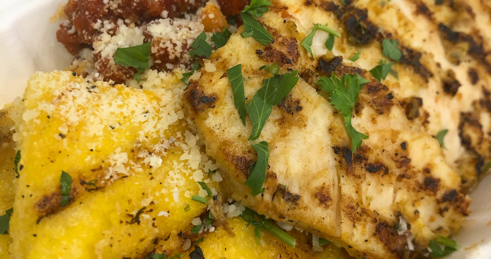 Grilled Polenta with White Bean Tomato Jam with Marinted Grill Chicken