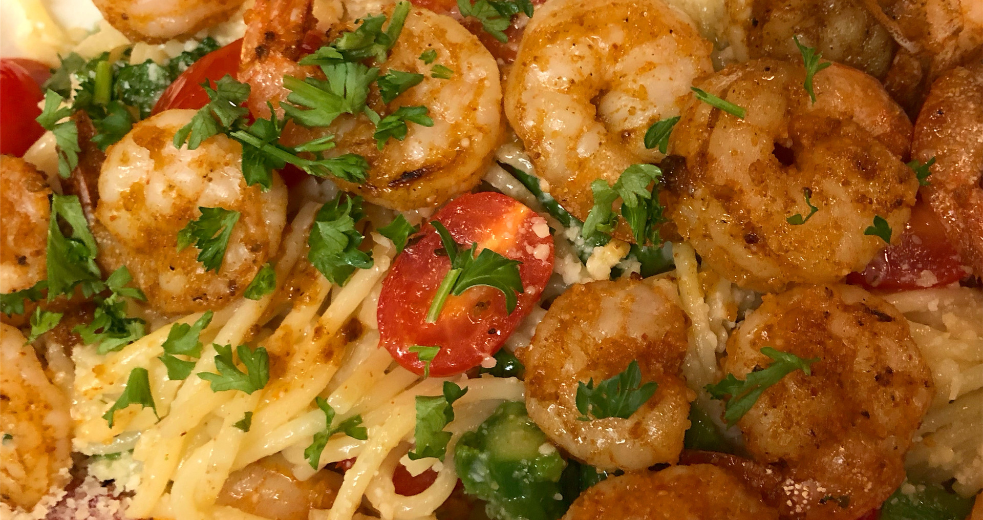 White Wine Garlic Butter Pasta Tossed with Cherry Tomatoes and Asparagus served with Marinated Shrimp