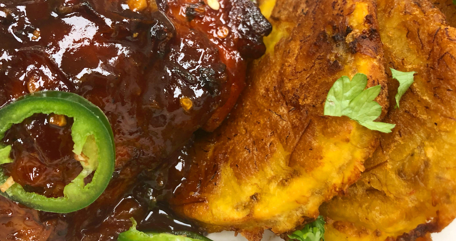 Sweet & Spicy Chicken with Crispy Plantain