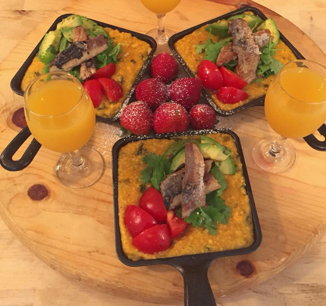 Soft Polenta with Smoked Herring and Marinated Avocado & Tomatoes