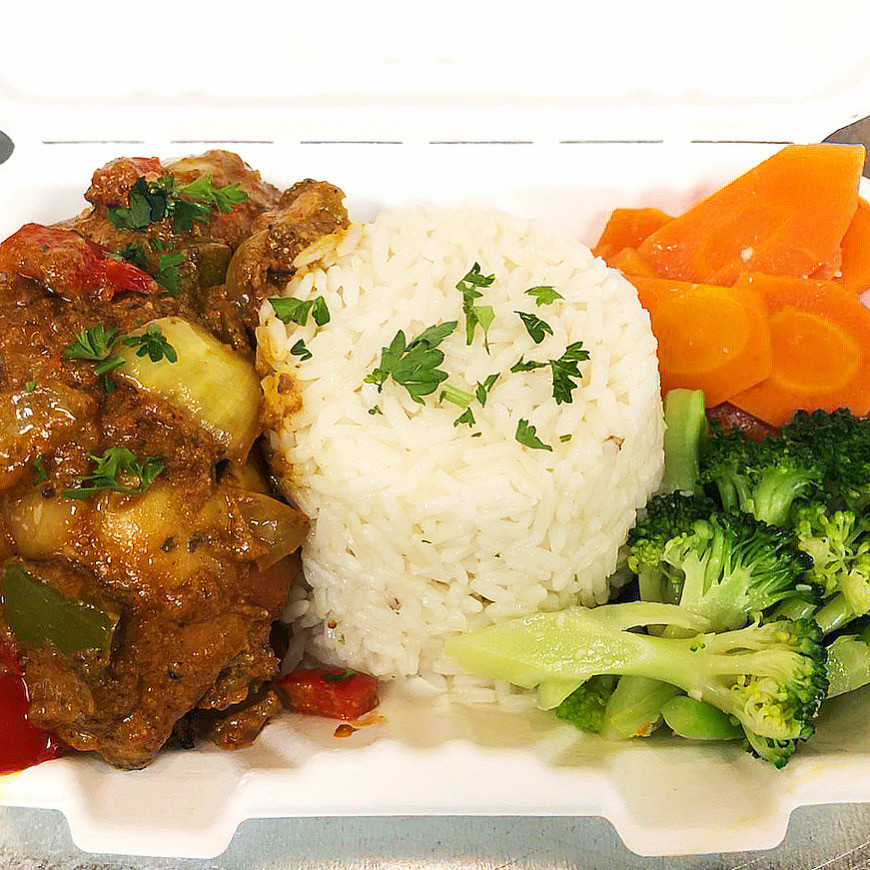 Braised Coconut Curry Chicken with White Rice & Herb Vegetables