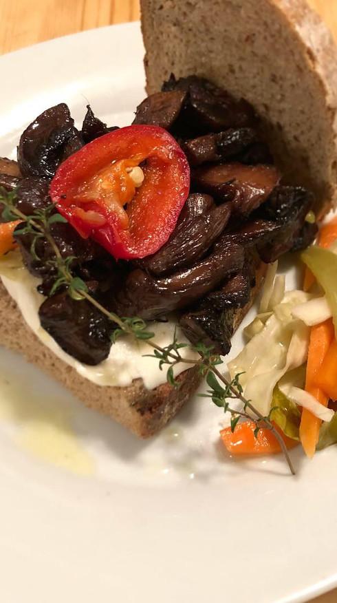 Roasted Mushroom Ragu with Fresh Mozzarella and Spicy Relish