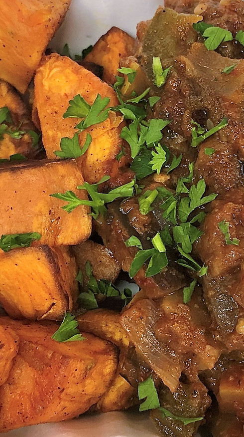 Rustic Ratatouille with Roasted Sweet Potatoes