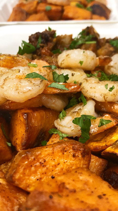 Rustic Ratatouille with Roasted Sweet Potatoes and Marinated Shrimp