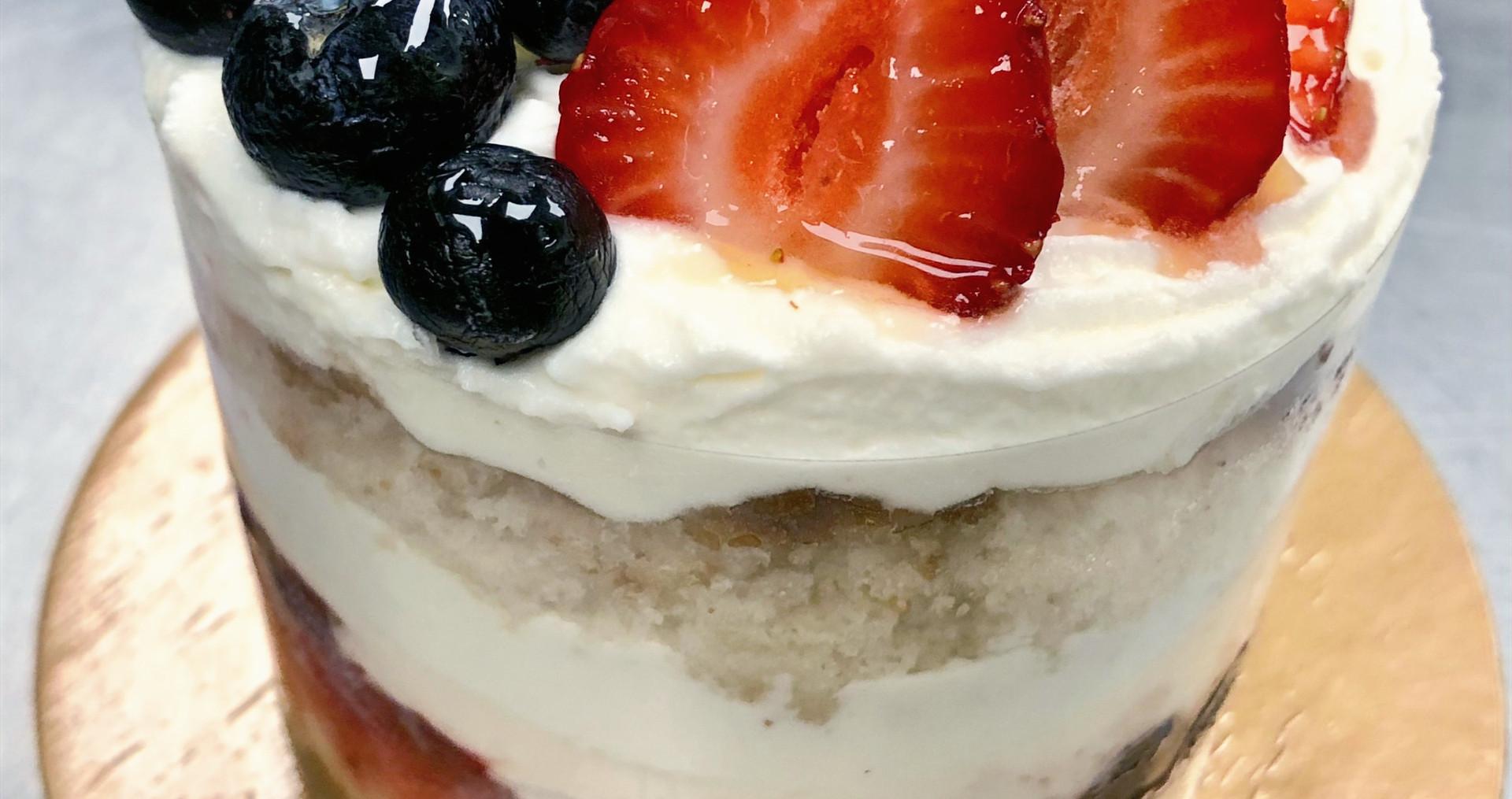 Berry, Cream and Blue Cake