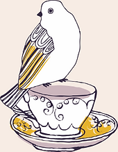 Birdie companion pearched on cup of tea