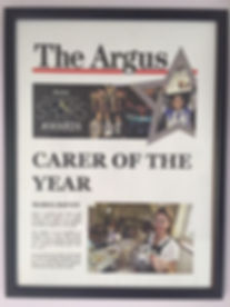 Maria Davey Carer of the Year featured in the Argus Newspaper