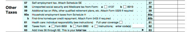 Annoyingly, more of the same. The reason this section sits here is that these taxes are owed after credits have been taken out. Don't worry, though, nothing too complicated here.