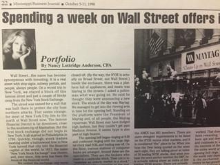 "#TBT ""Spending a week on Wall Street offers insight"""