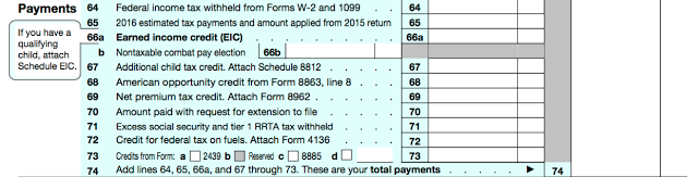 Payments. If you have already paid taxes (on W-2 income or IRA withdrawals, for instance) note it here. This is the step before the grand reveal.