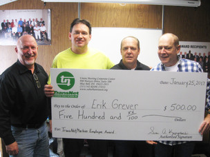 Congratulations Erik Grever, Mechanic, Bux-Mont Transportation, for earning $500!