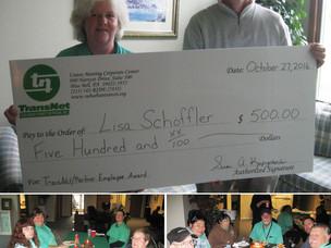 Congratulations Lisa Schoffler: $500 for Employee Excellence Award