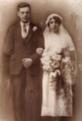 Cyril 'Gib' Birkinshaw and Annie 'Lou' Webster on their wedding day 1925