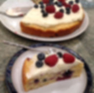 moist and delicious Sour cream cake with fresh seasonal fruits