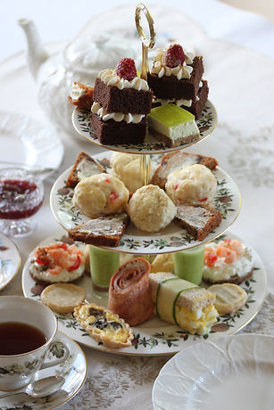 3 tiers of yummy scrumptiousness. scones pastries, savouries, cakes cookies. yorkshire ta and locally roasted coffee