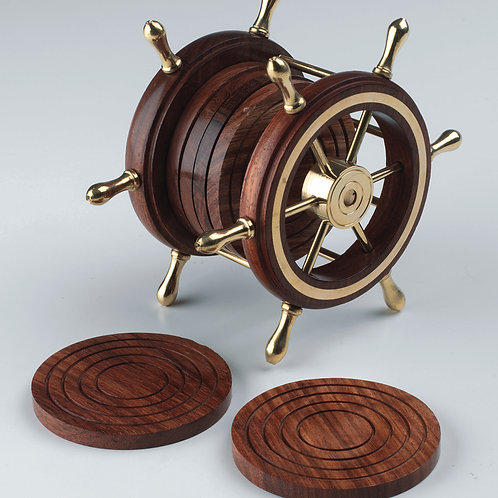 Ship's Wheel Coasters (6) with Stand 4608