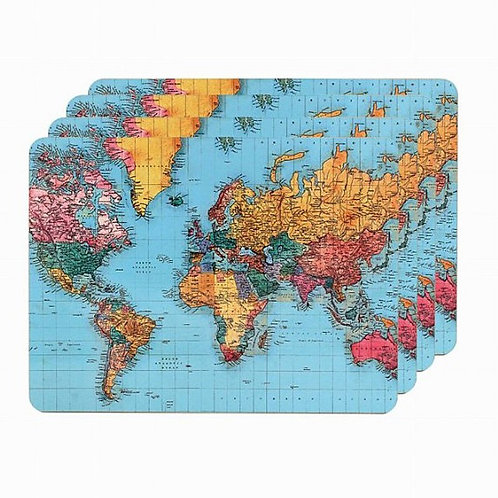 World Map Placemats set 4