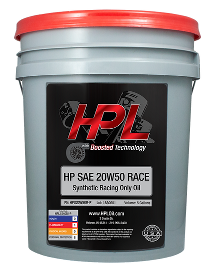 20W50 Synthetic Race Motor Oil Pail (5 Gallons)