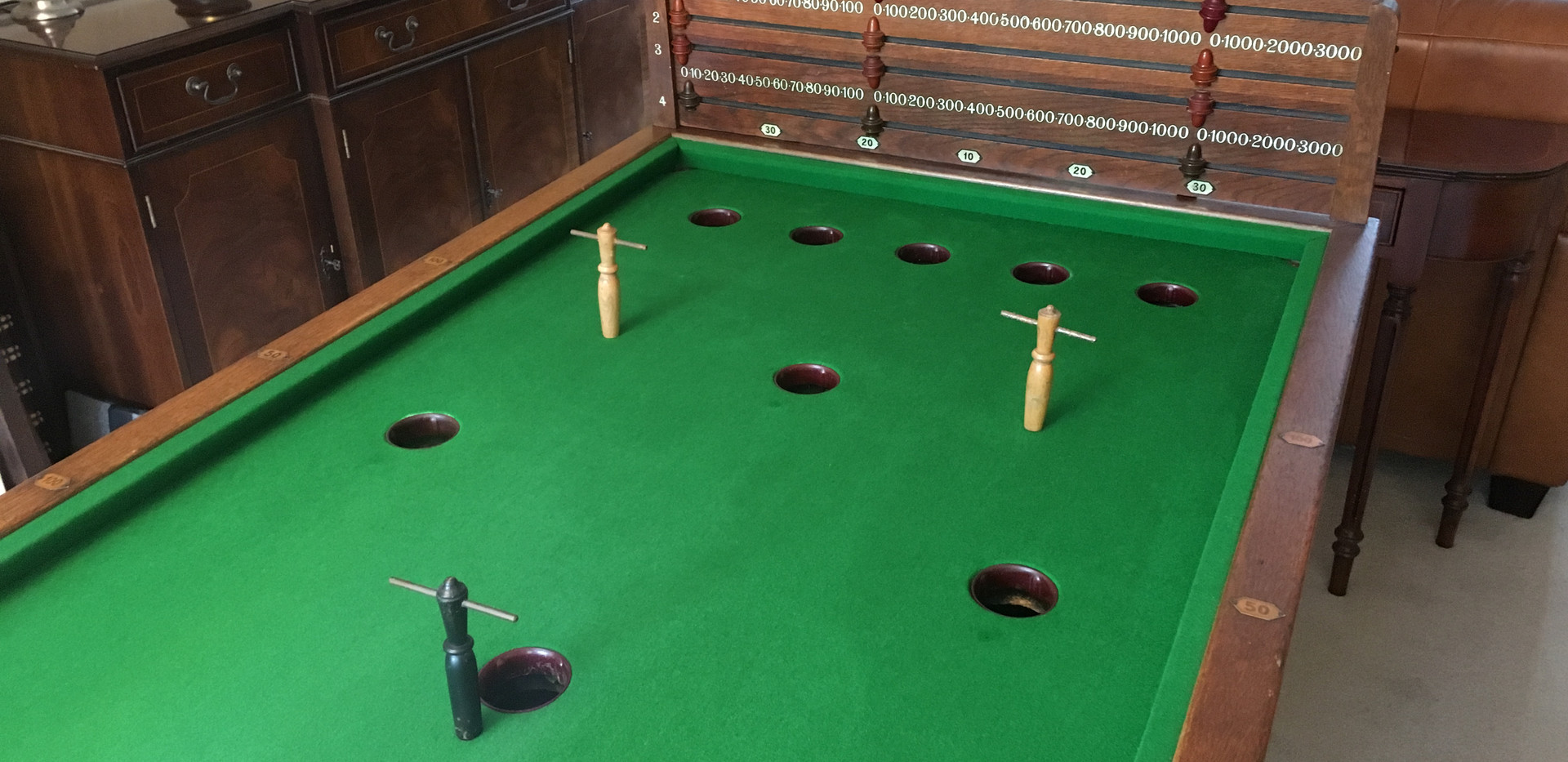 Antique E J Riley Oak Bar Billiards Tables - 1910