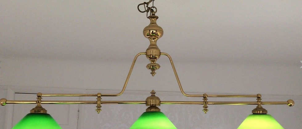 Brass framed Billiard Snooker Pool Light, Glass Shades (SOLD)