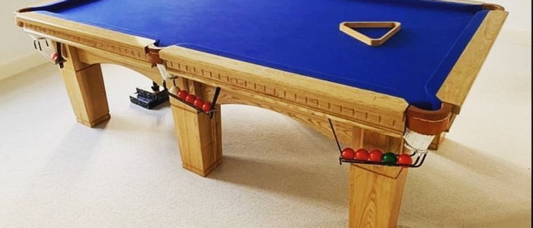 Hand Made Solid Oak 8ft x 4ft Slate Snooker Pool Table