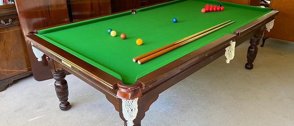 Antique Burroughes & Watts 8x4 Slate Snooker Pool Convertible Dining Table(SOLD)