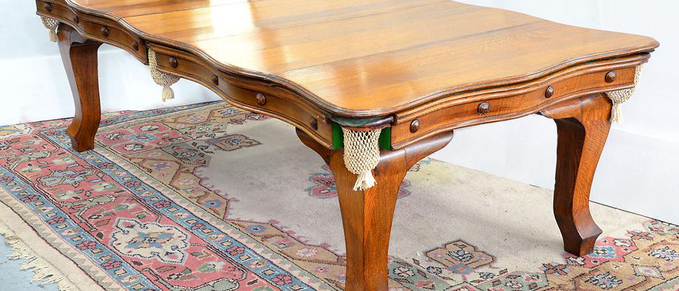 Riley Serpentine 7ft Antique Snooker Dining Table Oak C.1910 (SOLD)