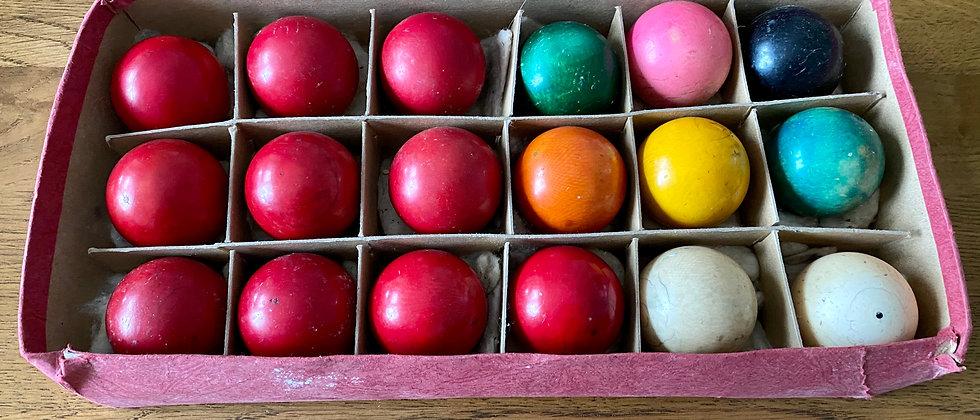 Rare Boxed Full Set Of Snooker Balls c1880s