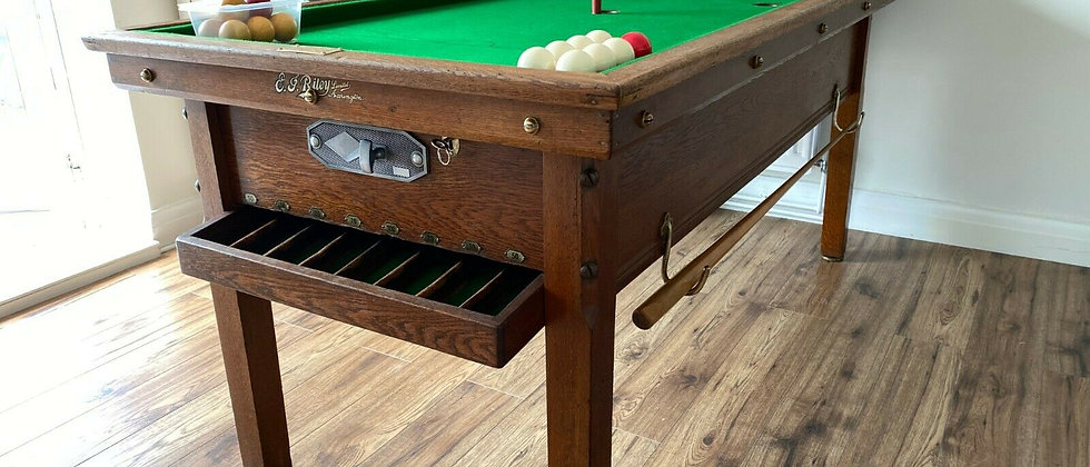 E J Riley Bar Billiard Table NUMBER 16 Circa early 1900s Museum Piece (SOLD)