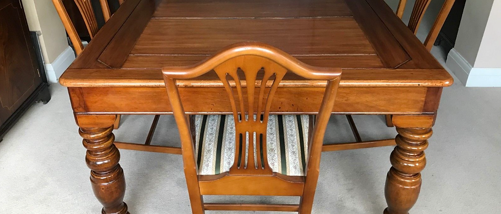Antique 7X4 Roll Over Snooker Pool Billiard Dining Table & Six Chairs 1920's
