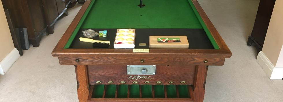 Antique E J Riley Oak Bar Billiards Tables - 1910