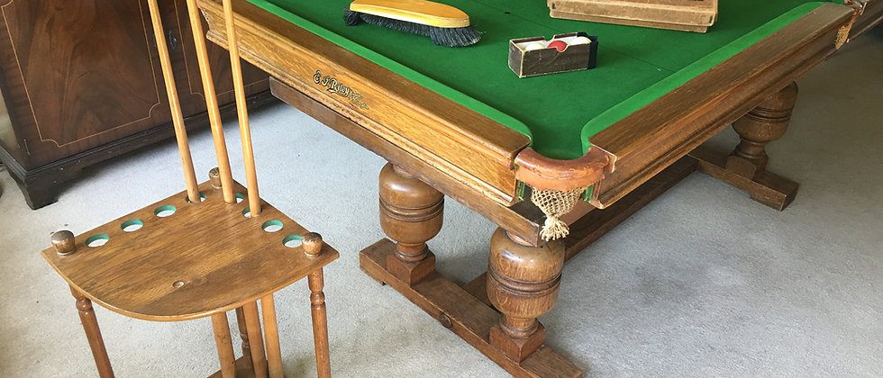 6ft Antique E J Riley Snooker Dining Table, Oak Early 1900 (SOLD)