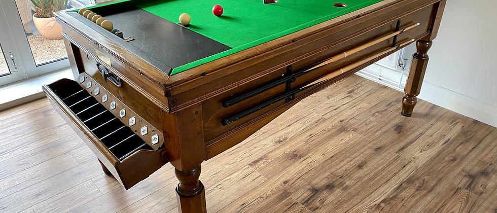Jelks Bar Billiard Table Slate Bed in Solid Oak c1930s -40s