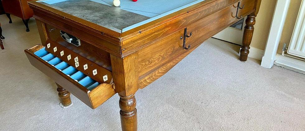 Jelks Bar Billiard Table Circa 1930's - Solid Oak (SOLD)