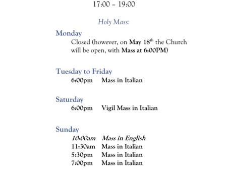 Temporary Mass times (due to Coronavirus)