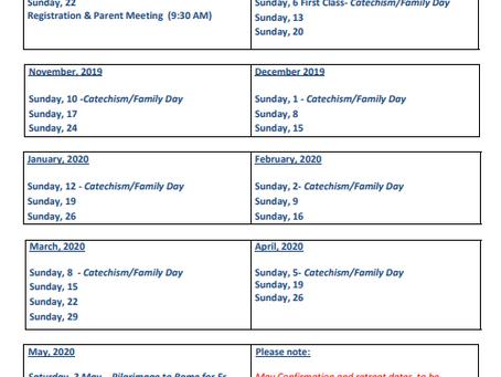Catechism Calendar 2019-2020