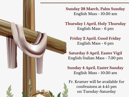 Holy Week Mass Times