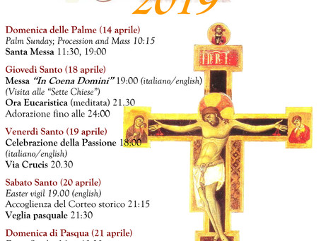 Mass Times: Palm Sunday to Easter Sunday