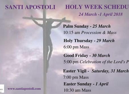 Holy Week Liturgical Schedule