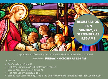 Catechism Registration for 2020-2021