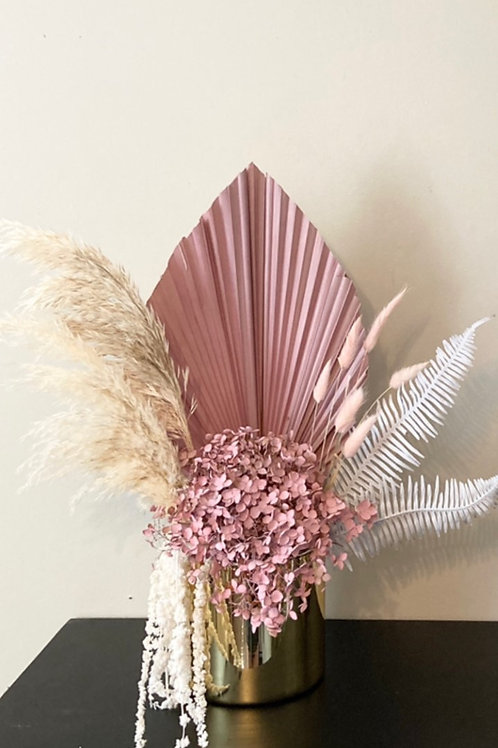 Light pink Hydrangea and white dried florals