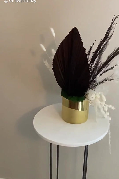 Chocolate Brown and White Dried Floral Arrangement in Gold Pot