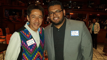 Walter Tejada with Milton Aguilar, the official DJ and sound man
