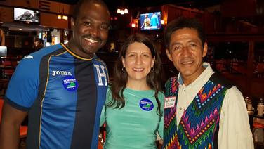 Walter Tejada with Arlington School Board Member Tannia Talento and DLOV President Marvin Figueroa