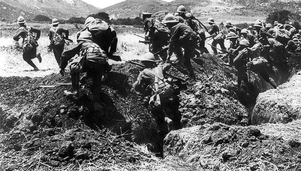 ANZAC Soldiers running from a trench at Gallipoli, 1915