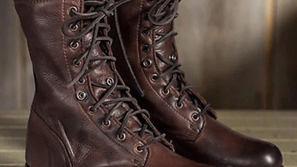 Leather Men Boots Winter Boots Men Big Size Plush Warm Winter Men Brown Vintage