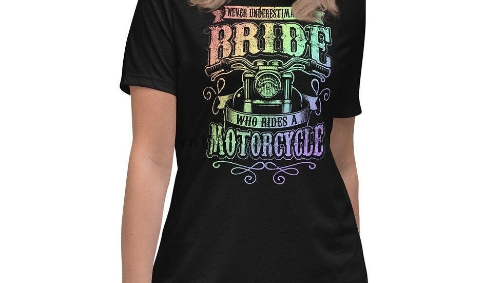 Biker Women Never Underestimate Bride Sexy Womens Motorcycle T Shirt