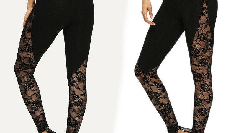 High Waist Black Lace Leggings Women's Ladies Floral Lace Black Leggings