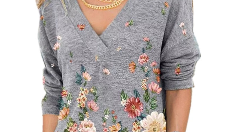 Fashion Women's V-Neck Flower Print Long-Sleeved Casual Loose T-Shirt Plus Size