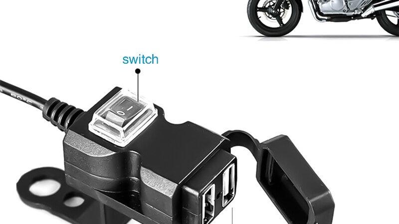 Universal Waterproof 12V Motorcycle Handlebar Dual USB Socket Splitter Charger